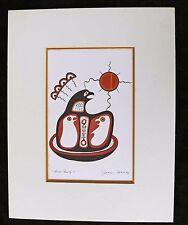 "Serigraph, ""Bird Family II"" by Famous Ojibway Artist, Jackson Beardy 11"" x 14"""