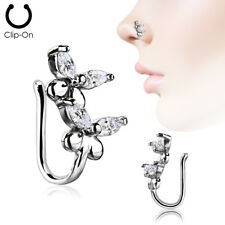 Double CZ Butterfly Non Piercing Nose Ring / Stud / Clip