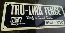 Nos TRU-LINK Fence CO Antique porcelain enamel metal sign industrial advertising