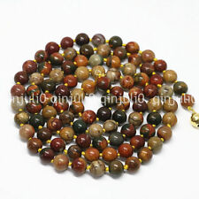 Natural 8mm Multicolor Picasso Jasper Round Gems Beads Necklaces 36'' JN713