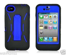 Apple iPhone 4 4S S Armor Hybrid Case Skin Cover w/ Kickstand Black Blue