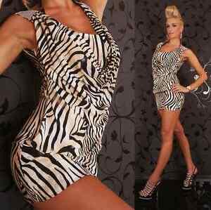 Womens Sexy Cowl Neck Clubwear Bodycon Evening Party Mini Dress size 8 10 Animal