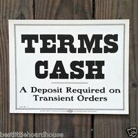 Vintage Original TERMS CASH DEPOSIT REQUIRED Utility 1900s Cardboard Sign NOS
