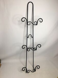 3 Plate Black Wrought Iron Wall Mounted Plate Display Rack/Holder