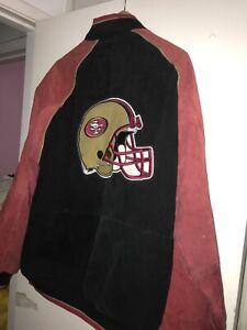 Mens Carl Banks G III SF 49ers Football Leather Pro Team Jacket Big Helmet Logo