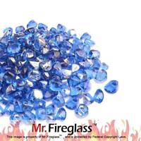 "Cobalt Blue 1/2""Reflective Fire Glass Diamonds with Fireplace and Fire Pit 10 lb"