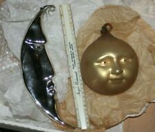HUGE Sun and Moon  blown glass ornaments  1980's