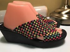 DeX flex SPORT Women's WEDGE SANDALS RAINBOW COLOTFUL SUMMES SHOES SZ 7.5