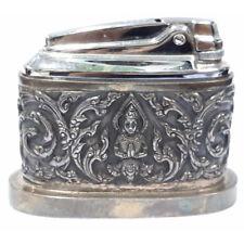 Antique Vintage Art Deco Siam Sterling Silver Heavy Table Lighter Case 147g Rare