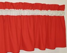 Solid Red and White Window Topper Curtain Valance Bedroom Kitchen School Colors