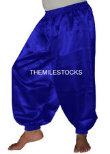 TMS R BLUE Satin Harem Yoga Pant Belly Costume Tribal Club PANTALON Dance EHS SH