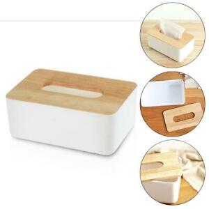 Tissue Box Dispenser Paper Storage Holder Napkin Case Organizer + Wooden Cover