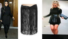 SPECTACULAR MOST WANTED ALAIA BLACK LEATHER FRINGE BELT SKIRT 70 CM SOLD OUT