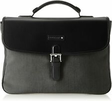 NEW Montblanc Grey/Black Canvas and Leather Single Gusset Briefcase 106731