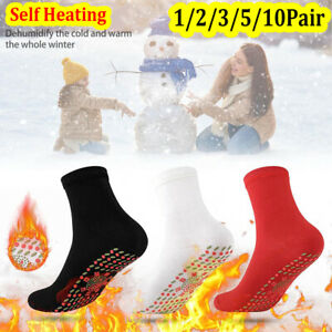 1-10Pair Self Heating Tourmaline Magnetic Therapy Socks Infrared Foot Warmth UK