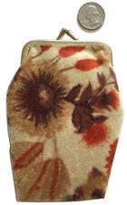"VTG Clasp Change Purse--Velvety Fuzzy Fabric 2 Floral Prints 4"" X 5"""