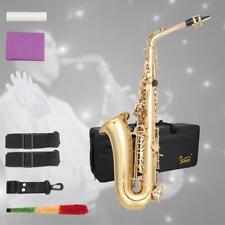 New  Glarry Saxophone Eb Sax Alto E Flat Paint Gold with Mouthpiece Clean Kit