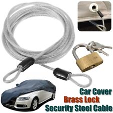 2 Meters Car Auto Cover Security Steel Cable & Brass Lock Kit Set w/ 2