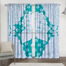 Green Leaf Floral Cotton Mandala Window Indian Drape Hanging Curtains Home Decor
