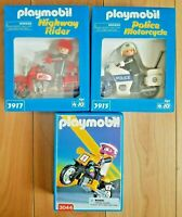 Lot of 3 Playmobil - Police Motorcycle Motorcross Rider Highway Figures box NEW