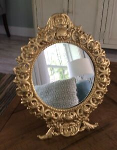"""Antnique beautiful easel style ornate gold framed oval Mirror 13-1/4"""" x 10-5/8"""""""