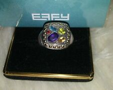 EFFY/BH Sterling Silver Ring Multi Stone 18k Gold  Size 7 with free effy gift