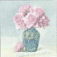 4 Tovaglioli di carta singolo DECOUPAGE. rose in vaso, vintage, shabby chic - 467