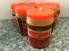 6x Scented Pillar Candle Candles Rustic Decor 5*8cm 22Hours Fragrance Rose Red