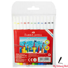 12 Pack Faber-Castell Colour Sketch Felt Tip Pens Kids Washable Assorted Colours