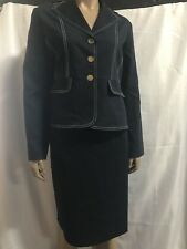 Ashro Dark Denim Skirt Suit Church Career Size 8 10 12 14 16 18W 20W PLUS