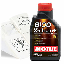Engine Oil Top Up 1 LITRE Motul 8100 X-Clean+ 5W-30 1L +Gloves,Wipes,Funnel