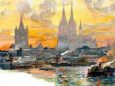 Impression artistique peinture CARTE POSTALE cathédrale de cologne st Petrus Domkirche River nofl0871