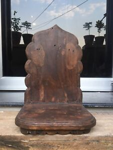 Antique Old Wooden Hand Carved Wall Fix Temple Panel Stand
