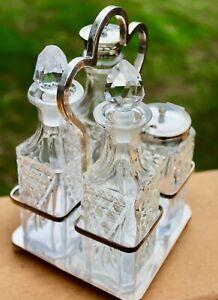 Antique English Silver Plated & Crystal Cruet Condiment Set 19th century
