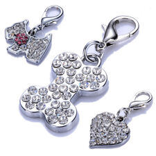 Lobster Clasp Charms For Dog Collars Rhinestones Pet Jewelry Crystal Pendant Tag