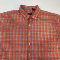 Izod Button Up Shirt Men's Size 2XL XXL Short Sleeve Coral Blue White Plaid