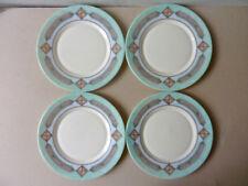 4 assiettes à dessert Arcopal, décor géométrique pastel, vert mint vintage an 80