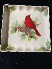 Season of Peace Square Snack Plate Ceramic Cardinal by Cracker Barrel