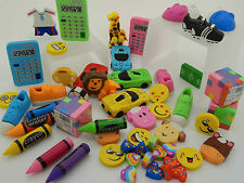 50 job lot of mixed NOVELTY ERASERS! Party Bag Fillers/Toys/Lucky Dip Prizes