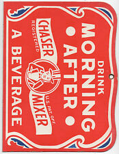 "1930s Cardboard Advertising Sign for Morning After Chaser Mixer "" Hung Over Man"""