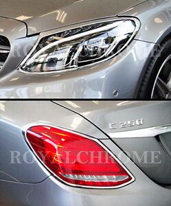 EXPRESS Combo Set CHROME HEAD+REAR LAMP TRIMS for Mercedes C Class W205 Sedan