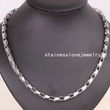 5mm Fashion Stainless Steel Mens Heart Silver Motorcycle Chain Necklace 22""