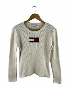 VINTAGE Tommy Hilfiger Logo Sweater Womens Size XL White Pullover Jumper Casual