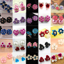 New Elegant Pearl Rose Flower Crystal Rhinestone Ear Stud Pierced Earrings Women