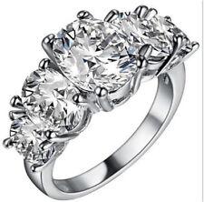 Fashion Women White Gemstone CZ Crystal Silver Wedding Ring Jewelry Size 7 HOT