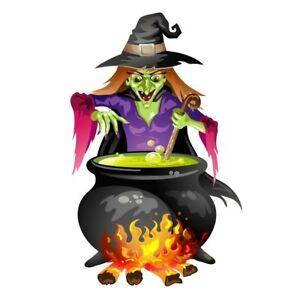 "3"" Witch Halloween Magic Spell Cauldron Green Evil Wart Craft DIY Bumper Sticker"