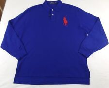 Polo Ralph Lauren Men's Big Pony Polo Shirt Mesh Cotton Long Sleeve Blue XXL 2XL