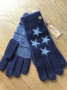 Fat Face Navy Mini Star Knitted Gloves BNWT