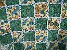"Rag quilt lap robe chair blanket crib bed   Royal Peacocks  36"" x 48"""