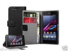 Billetera De Cuero Negro Funda Para Sony Xperia Z1 COMPACT D5503 Experia